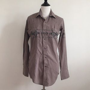 Vintage gray western snap down shirt